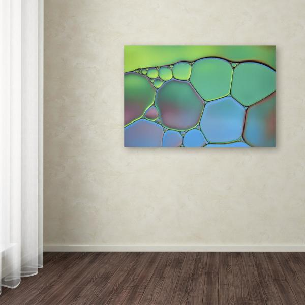 """Trademark Fine Art 16 in. x 24 in. """"Lime Green and Blue Stained Glass"""" by Cora Niele Printed Canvas Wall Art"""