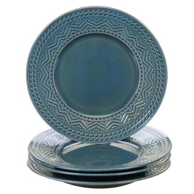 Aztec 4-Piece Patterned Multi-Colored Stoneware 11 in. Dinner Plate Set (Service for 4)