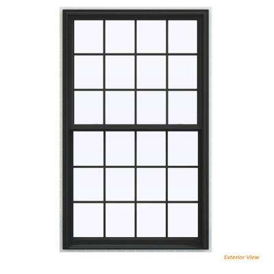 43.5 in. x 71.5 in. V-2500 Series Bronze Painted Vinyl Double Hung Window with Colonial Grids/Grilles