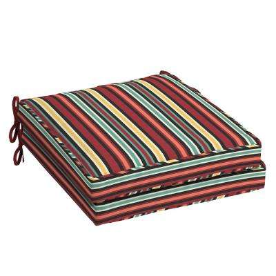 21 in. x 21 in. Ruby Abella Stripe Square Outdoor Seat Cushion (2-Pack)
