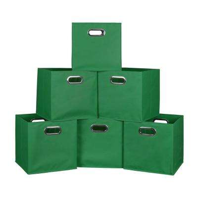 Cubo 12 in. x 12 in. Green Foldable Fabric Bin (6-Pack)
