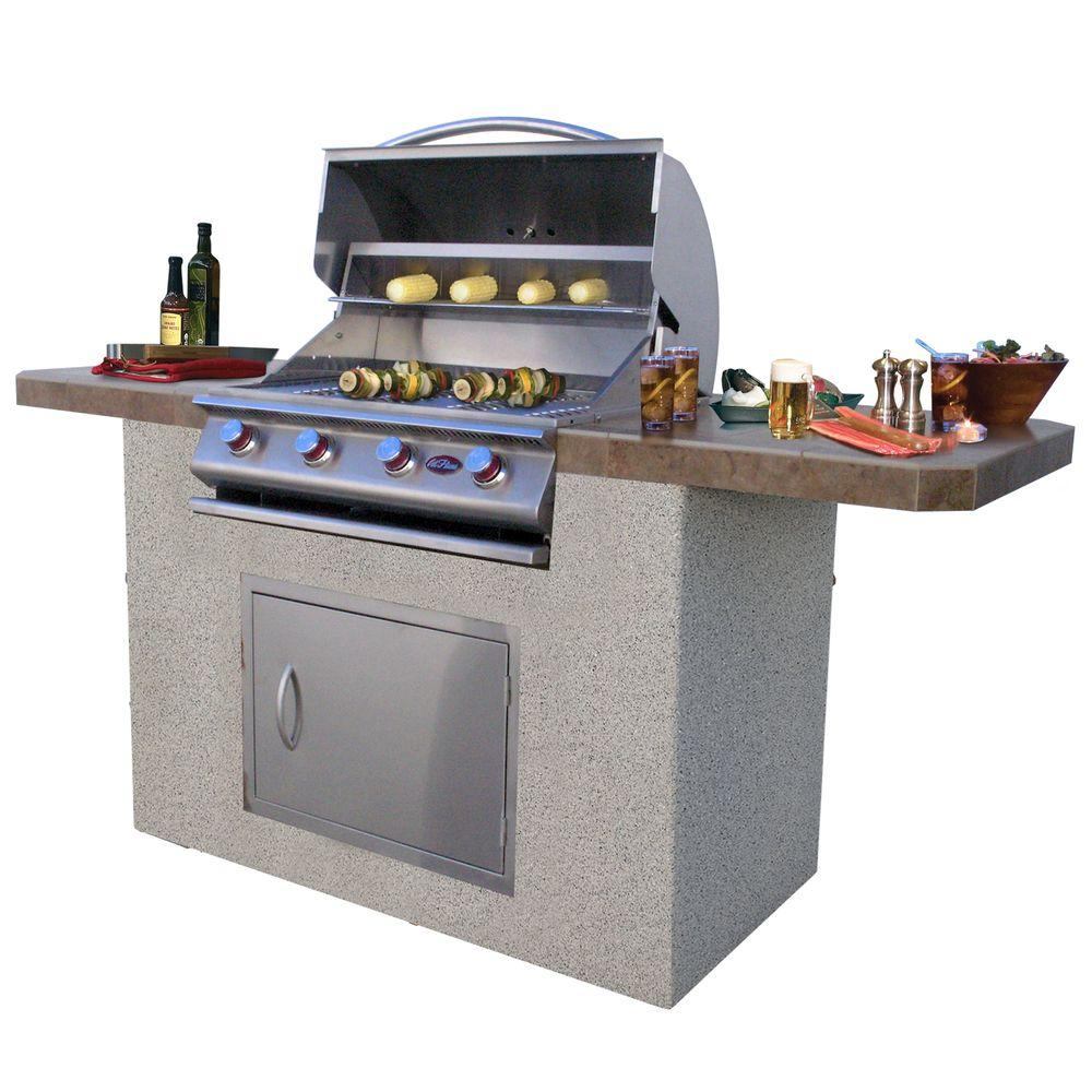 7 ft. Stucco and Tile BBQ Island with 4-Burner Grill in
