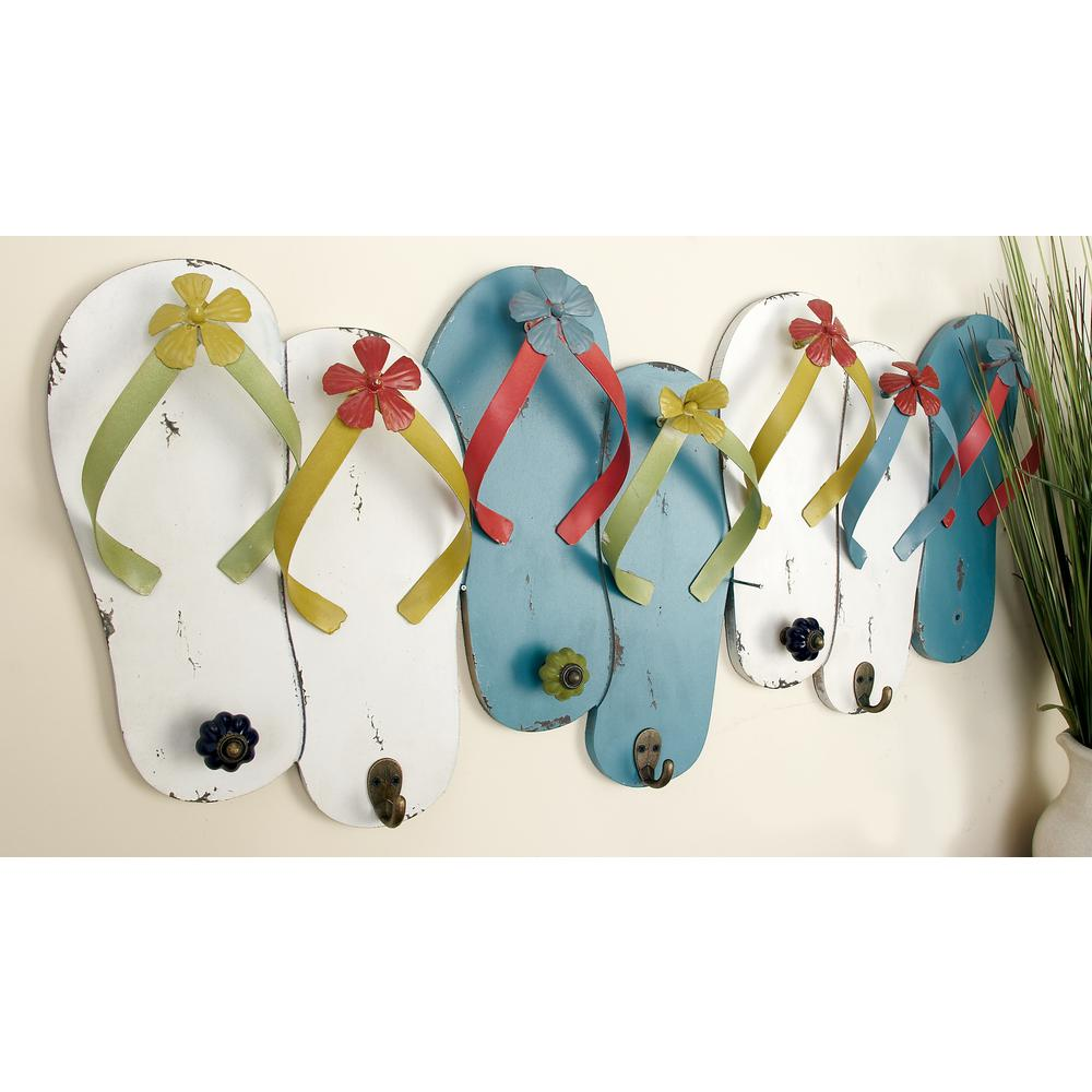 13 in. White and Turquoise Flip Flops Wall Hook Rack
