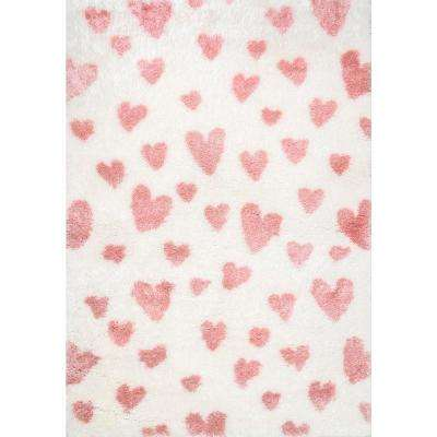 Alison Heart Shag Pink 7 ft. 10 in. x 10 ft. Area Rug