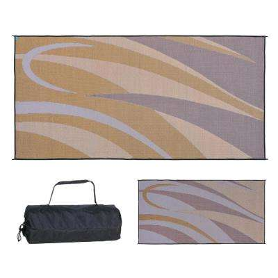 8 ft. x 16 ft. Graphic Brown/Gold Polypropylene Reversible Outdoor Camping Patio RV Mat