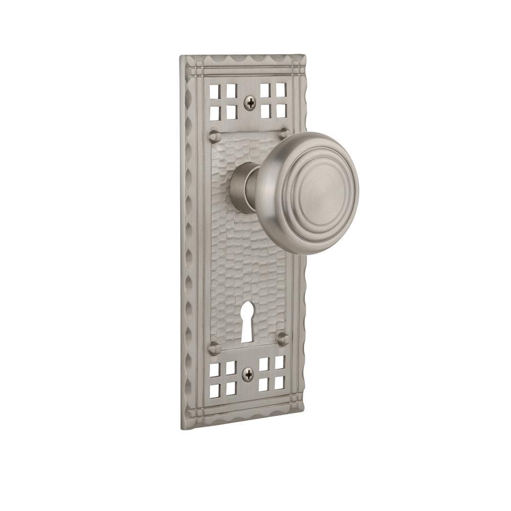 Craftsman Plate with Keyhole Double Dummy Deco Door Knob in Satin Nickel