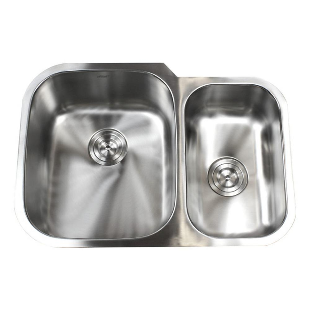 Undermount 16 Gauge Stainless Steel 29 In X 20 3 4 9 60 40 Offset Double Bowl Kitchen Sink
