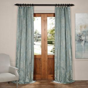 Exclusive Fabrics & Furnishings Magdelena Steel Blue and Silver Faux Silk Jacquard Curtain Panel - 50 inch W x 84 inch L by Exclusive Fabrics & Furnishings
