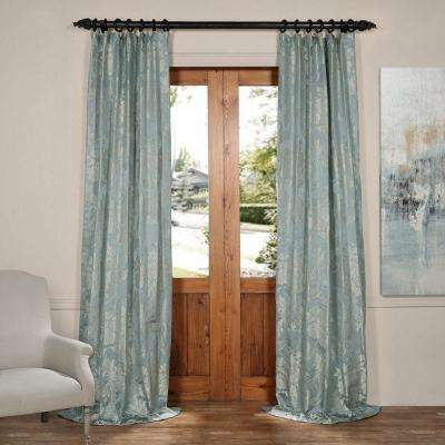 Magdelena Steel Blue and Silver Faux Silk Jacquard Curtain Panel - 50 in. W x 108 in. L