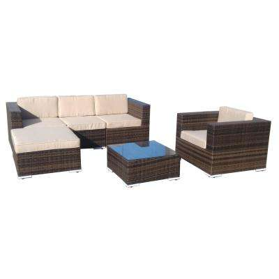 Cedar 6-Piece Wicker Patio Furniture Conversation Set with Beige Cushions