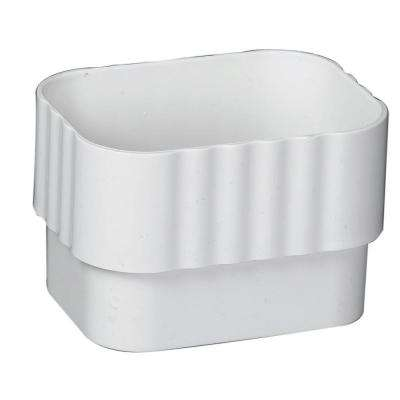 2 in. x 3 in. White Vinyl Downspout Connector