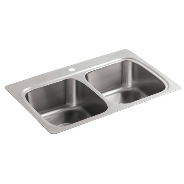 Verse Drop-In Stainless Steel 33 in. 1-Hole 50/50 Double Bowl Kitchen Sink