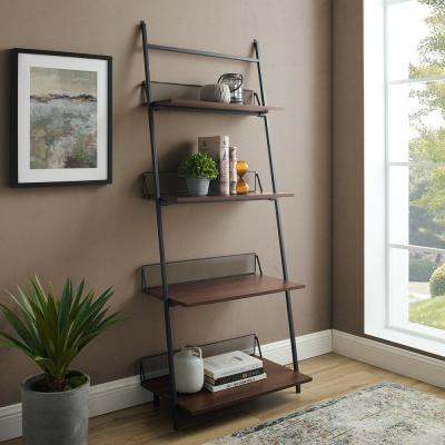 64 in. Dark Walnut Metal 4-shelf Accent Bookcase with Open Back