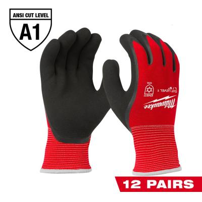 Large Red Latex Level 1 Cut Resistant Insulated Winter Dipped Work Gloves (12-Pack)