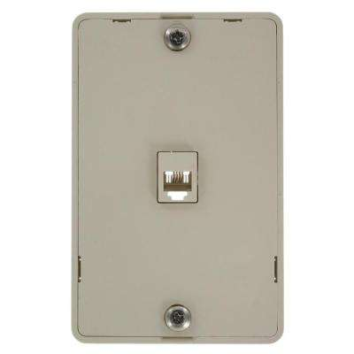 6P4C Type 630A Wall Phone Jack, Light Almond