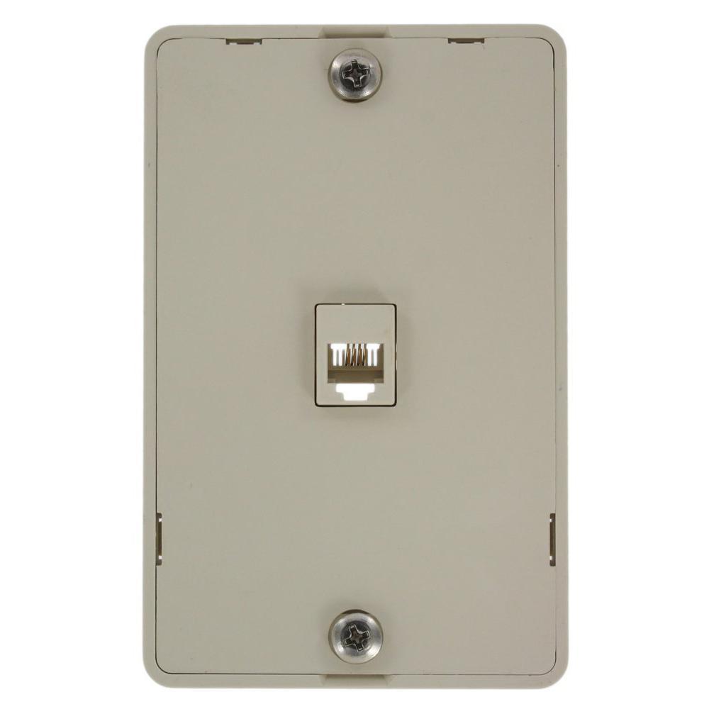 6P4C Type 630A Wall Phone Jack, Light Almond