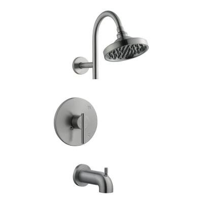 Geneva Single-Handle 1-Spray Tub and Shower Faucet in Satin Nickel (Valve Included)