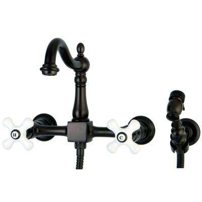 Victorian 2-Handle Wall-Mount Side Sprayer Kitchen Faucet with Porcelain Cross Handles in Oil Rubbed Bronze