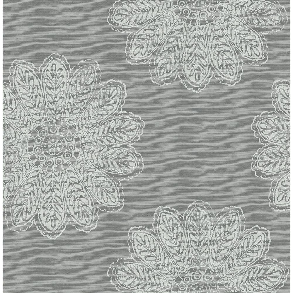 56.4 sq. ft. Sol Slate Medallion Wallpaper