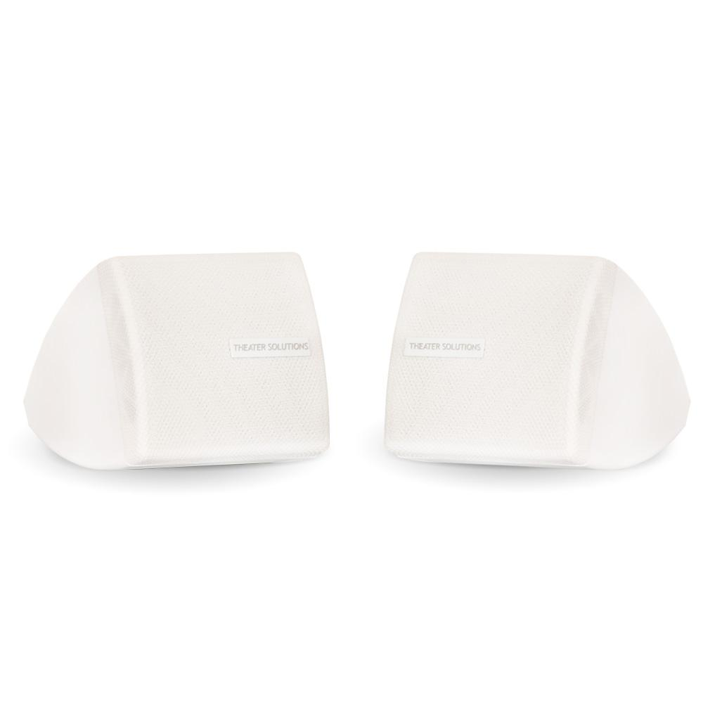 Mountable Indoor Speakers White Bookshelf Pair These Theater Solutions Indoor Speakers are perfect for any occasion or application. They were designed with durability in mind, so there is no need to worry about wear-and-tear. They make great additions to any surround sound home theater, will fit onto any bookshelf, can be used with any stereo system and are great to use in bathrooms and kitchens. Each speaker can handle 200-Watt of power, and has a full range sound and functionality. Included mounting brackets allows hassle-free installation in any location. Color: White.
