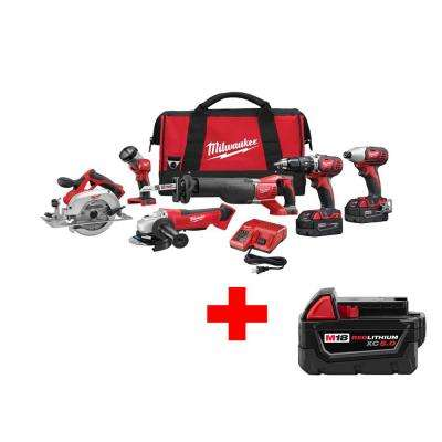 M18 18-Volt Lithium-Ion Cordless Combo Kit (6-Tool) with Free 5.0Ah Battery