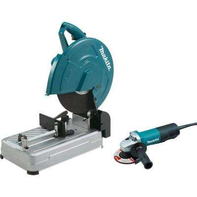 15 Amp 14 in. Cut-Off Saw with Tool-Less Wheel Change and 4-1/2 in. Paddle Switch Angle Grinder