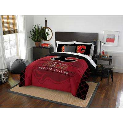 Flames Draft 3-Piece Multi-Color Polyester Full/Queen Comforter Set