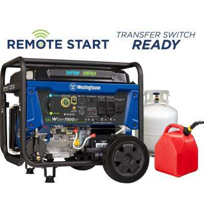 7,500-Watt Dual Fuel Remote Start Portable Generator with Electric and Remote Start (Gasoline or Propane)