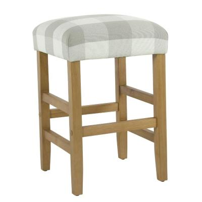 24.5 in. Gray and White Square Wooden Counter Stool with Buffalo Plaid Fabric Upholstered Seat