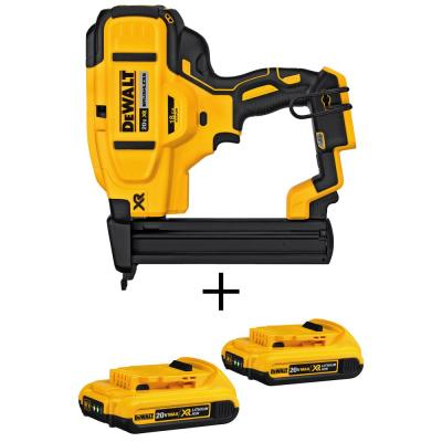 20-Volt MAX XR Lithium-Ion Cordless 18-Gauge Narrow Crown Stapler (Tool-Only) with Bonus Battery Pack 2.0Ah (2-Pack)