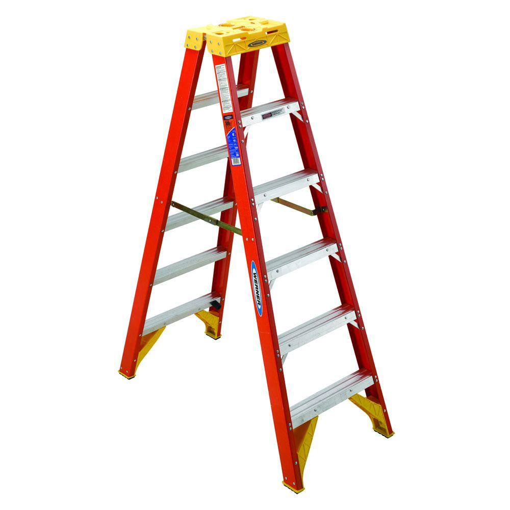 Werner 6 Ft. Fiberglass Twin Step Ladder With 300 Lb. Load