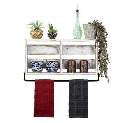 24 in. x 4 in. White Plank Barnwood Towel Rack Decorative Shelf