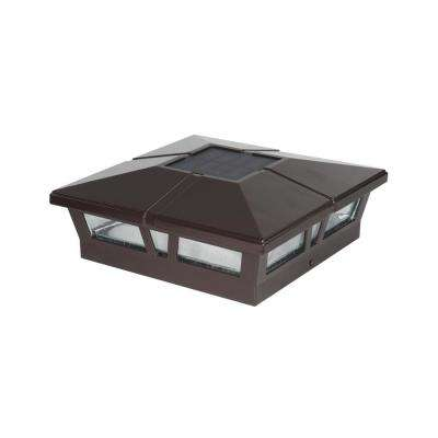 Cambridge Brown Integrated 6 in. x 6 in. Aluminum Cambridge Solar Post Cap (2-Pack)