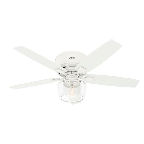 Bennett 52 in. Indoor Matte White LED Low Profile Ceiling Fan with Light and Handheld Remote Control