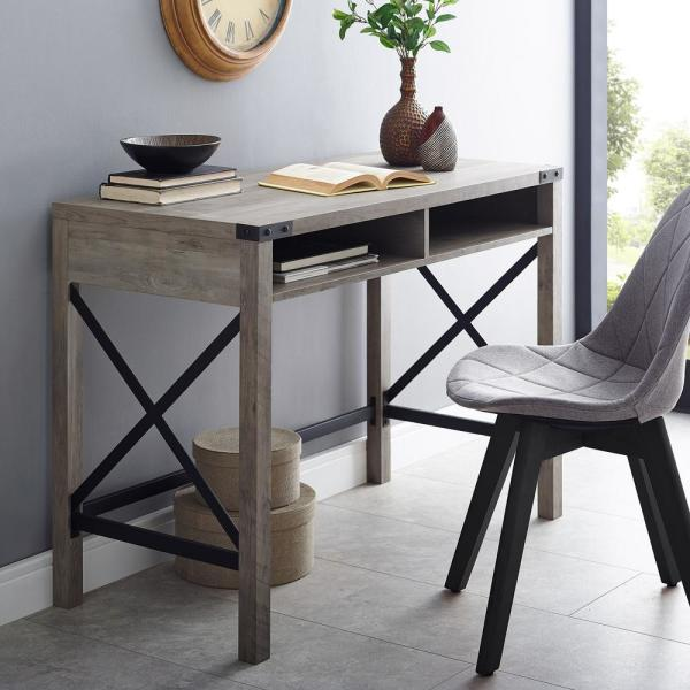42 in. Rectangular Grey Wash Writing Desks with Built-In Storage