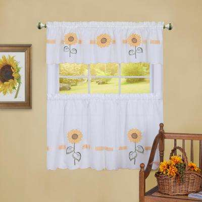 Sun Blossoms White Polyester Tier and Valance Curtain Set 56 in. W x 24 in. L