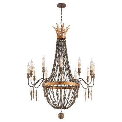 Delacroix 12-Light French Bronze Chandelier