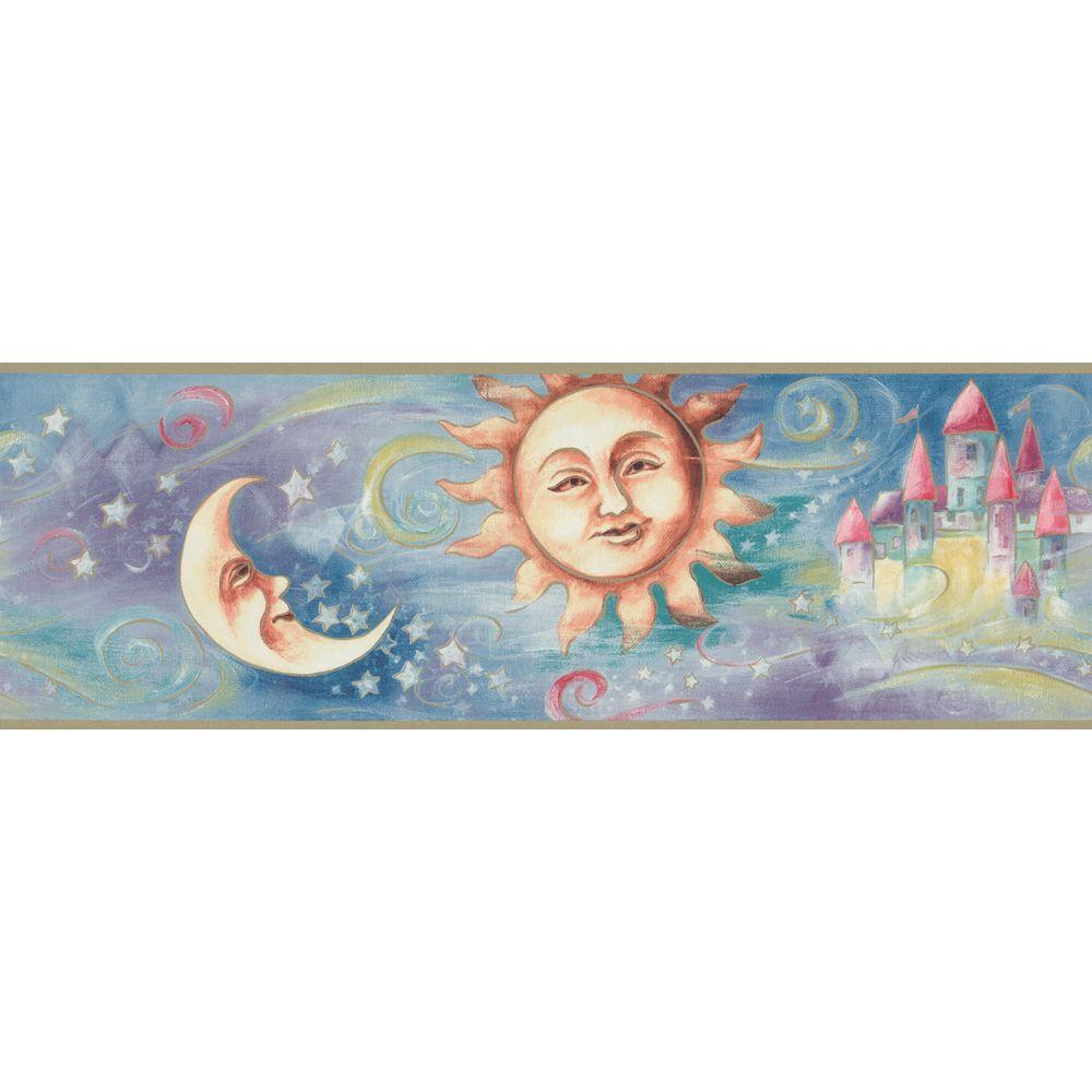 The Wallpaper Company 6.83 in. x 15 ft. Multi Colored Moons Border