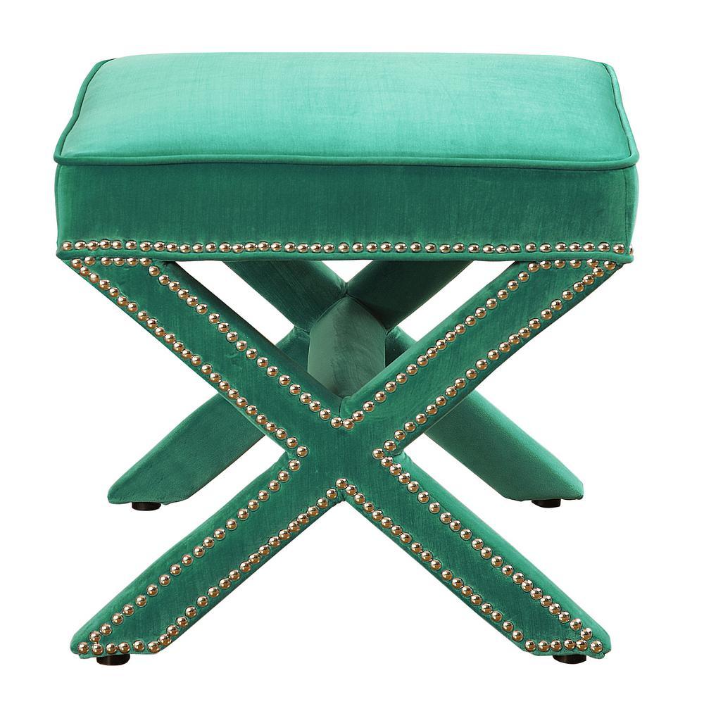 Merveilleux TOV Furniture Reese Green Velvet Ottoman