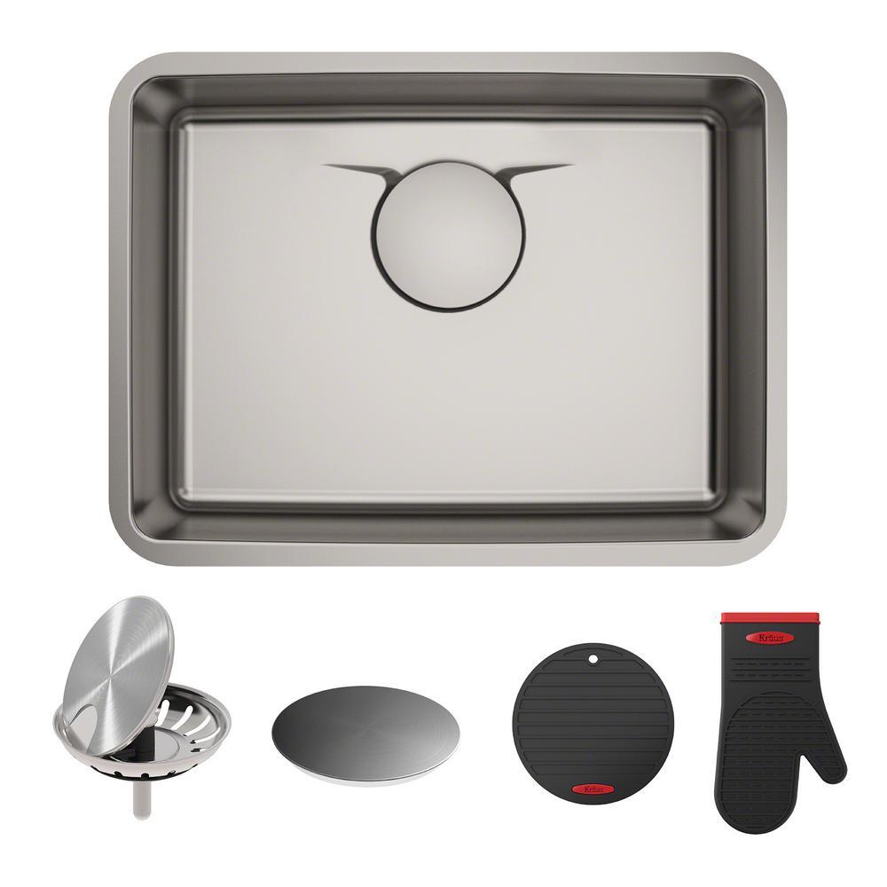 kraus dex undermount stainless steel 33 in single bowl kitchen sink rh homedepot com