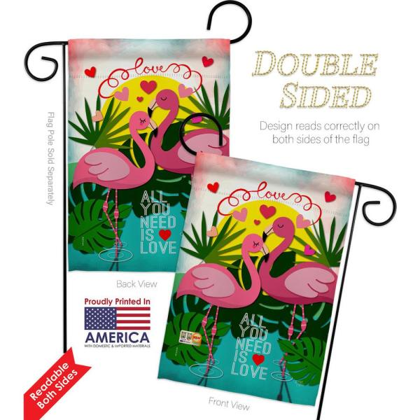 Breeze Decor 13 In X 18 5 In Flamingo Lover All You Need Is Love Sweet Heart Valentines Spring Vertical Double Sided Garden Flag Hdg151063 Bo The Home Depot