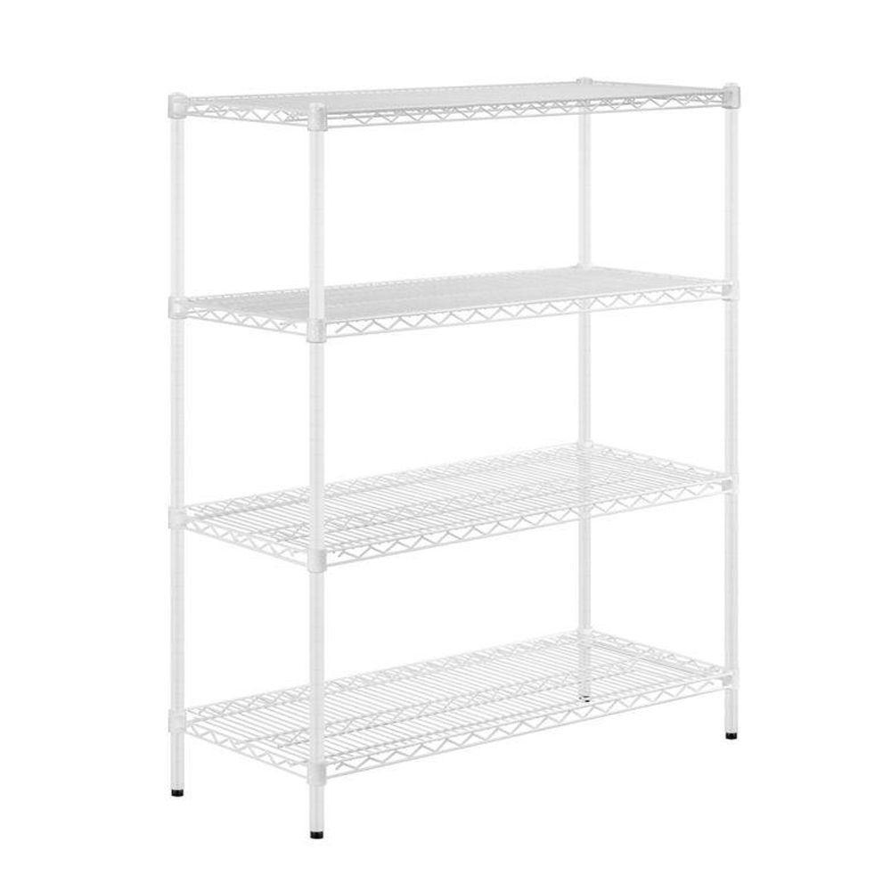 42 in. H x 48 in. W x 18 in. D 4-Shelf Steel Shelving Unit in White