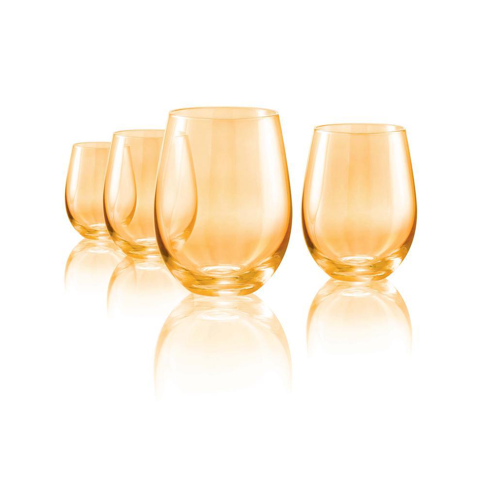 Luster 16 oz. 4-Piece Gold Stemless Glass Set
