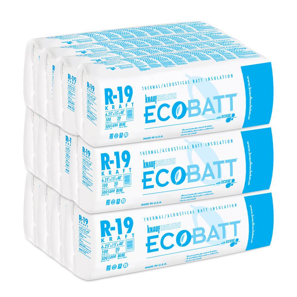 R-19 EcoBatt Kraft-Faced Fiberglass Insulation Batt 6.25 in. x 15 in. x 48 in. (12-Bags)
