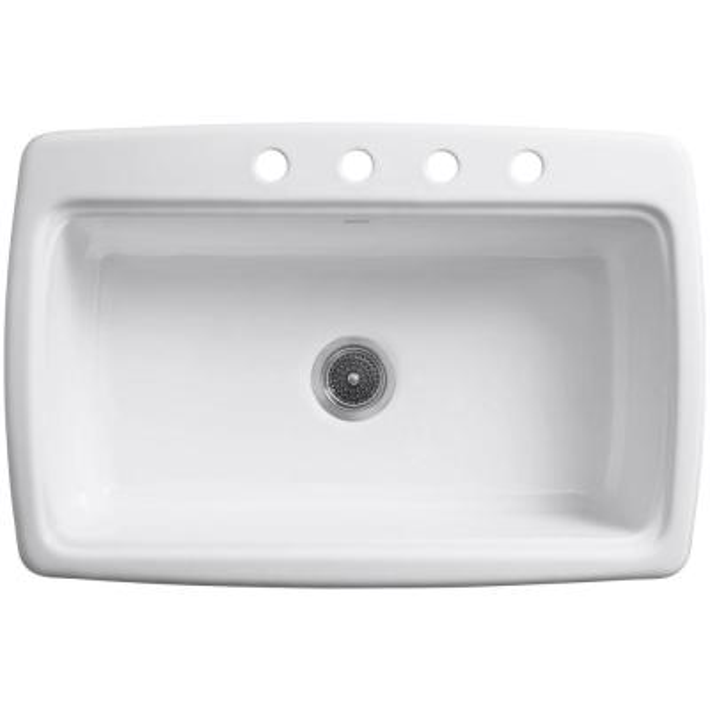 Cape Dory Drop-In Cast-Iron 33 in. 4-Hole Single Basin Kitchen Sink in Black