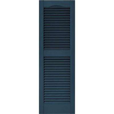 15 in. x 48 in. Louvered Vinyl Exterior Shutters Pair in #036 Classic Blue