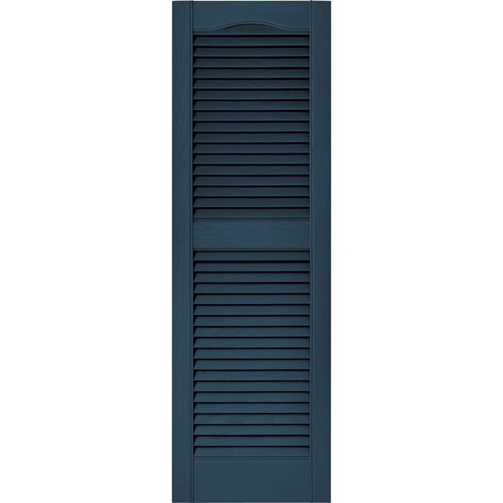 Louvered Vinyl Exterior Shutters Pair In 002 Black 010140048002 The Home Depot