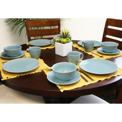 Alemany 16-Piece Patterned Blue Stoneware Dinnerware Set (Service for 4)