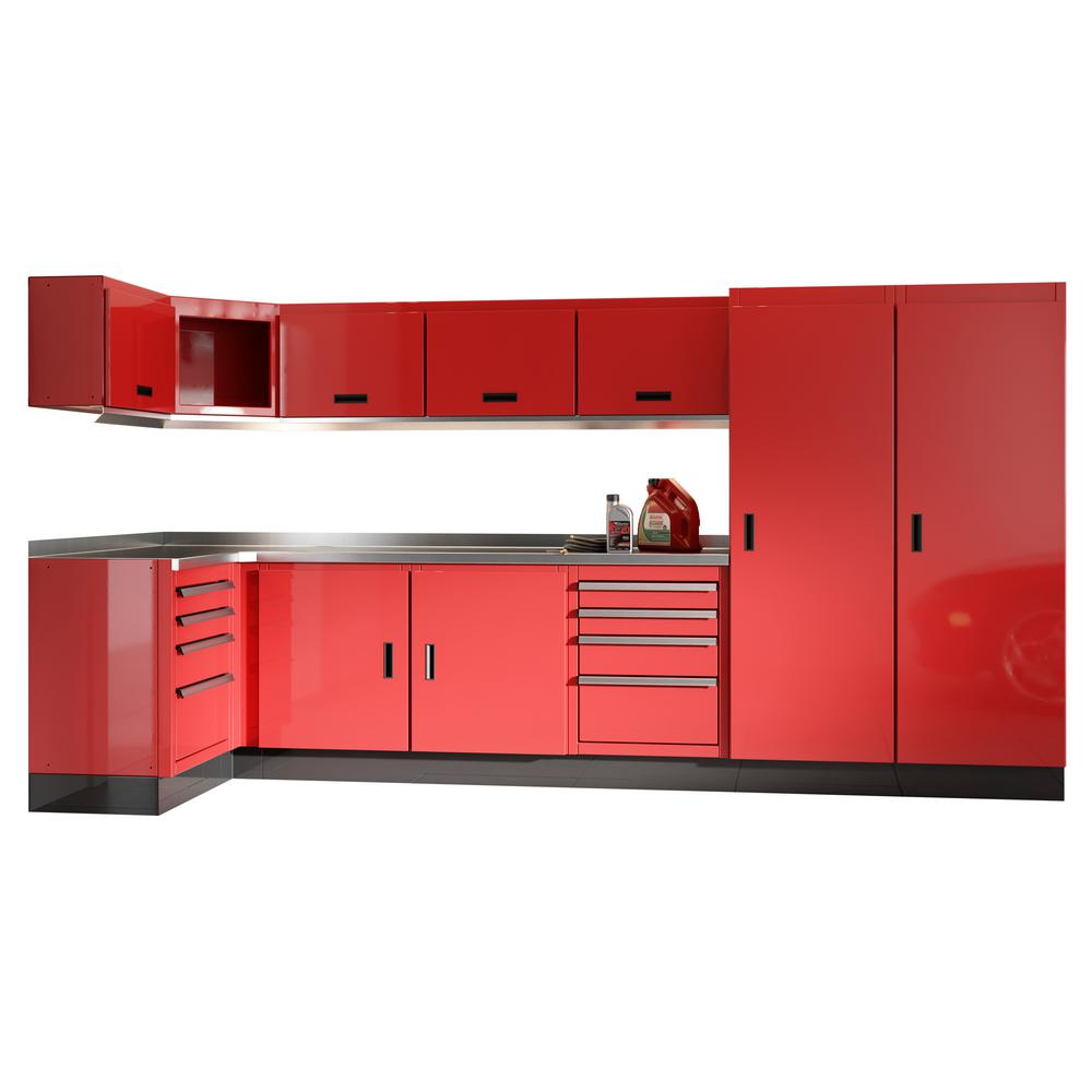 Moduline Select Series 75 in. H x 192 in. W x 22 in. D Aluminum Cabinet Set in Red with Stainless Steel Worktop (15-Piece)
