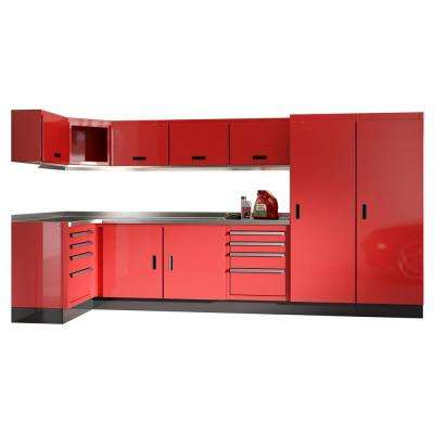 Select Series 75 in. H x 192 in. W x 22 in. D Aluminum Cabinet Set in Red with Stainless Steel Worktop (15-Piece)